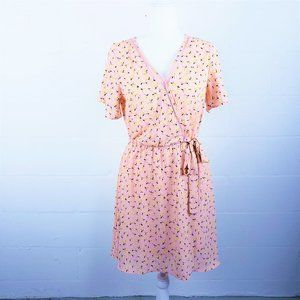 NWT Sienna Sky Pink Floral Faux Wrap Dress - Small